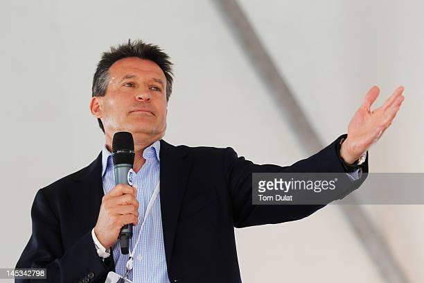 Lord Sebastian Coe answers questions from the public in the tented village at a QA session hosted by Andrew Cotter during the final round of the BMW...