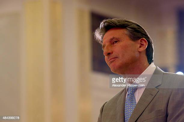 Lord Sebastian Coe attends the IAAF Congress Opening Ceremony at the Great Hall of the People at Tiananmen Square on August 18 2015 in Beijing China