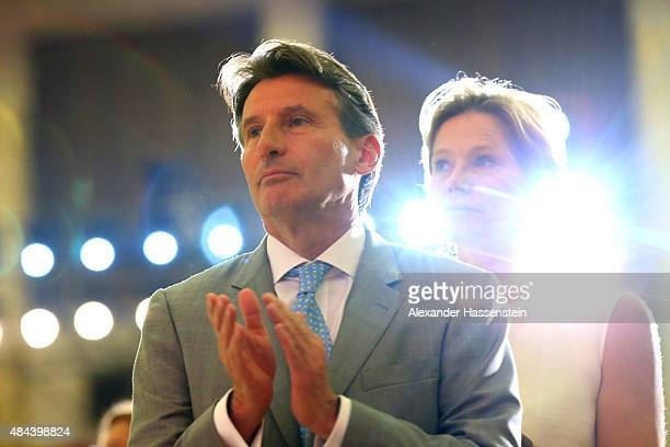 Lord Sebastian Coe attends with his wife Carole Coe the IAAF Congress Opening Ceremony at the Great Hall of the People at Tiananmen Square on August...