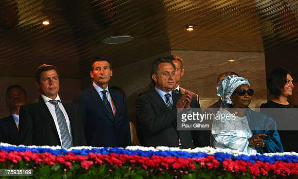 Lord Sebastian Coe Bintou Diack attend the opening ceremony during Day One of the 14th IAAF World Athletics Championships Moscow 2013 at Luzhniki...