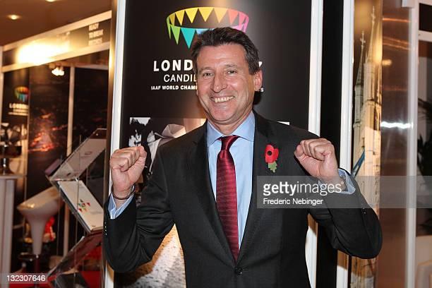 Lord Sebastian Coe celebrates winning the venue for 2017 IAAF World Athletics Championships in London on November 11 2011 in Monaco Monaco