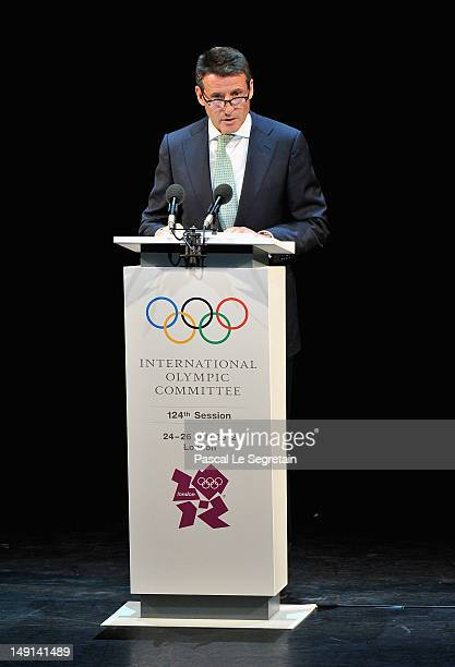 Lord Sebastian Coe, Chairman of the London Organising Committee for the Olympic Games speaks on stage during the Opening Ceremony of the 124th IOC...