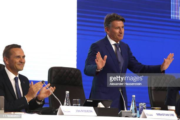 Lord Sebastian Coe is re-elected as IAAF President during the 52nd IAAF Congress at Sheraton Grand Doha Resort & Convention Hotel prior to the 17th...