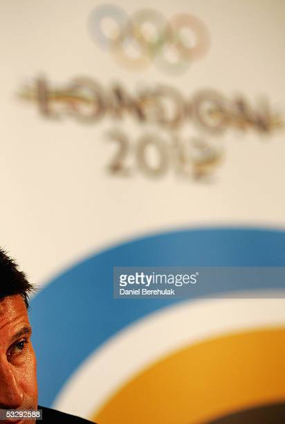 Lord Sebastian Coe of England talks to media during the launch of the London 2012 scratchcard on July 27 2005 in London England The lottery game to...
