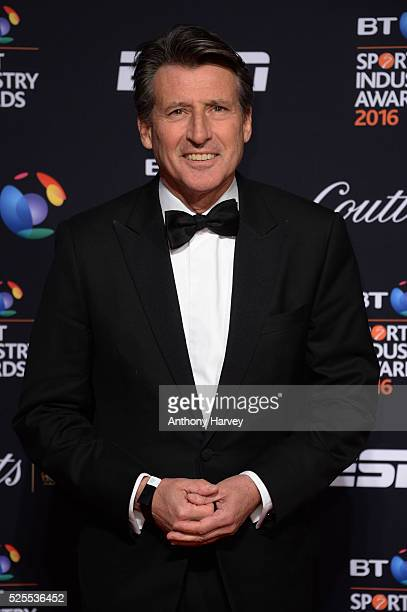 Lord Sebastian Coe poses on the red carpet at the BT Sport Industry Awards 2016 at Battersea Evolution on April 28 2016 in London England The BT...