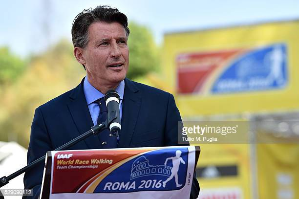 Lord Sebastian Coe President of IAAF takes a speach during the IAAF World Race Walking Team Championship Rome 2016 Opening Ceremony on May 7 2016 in...