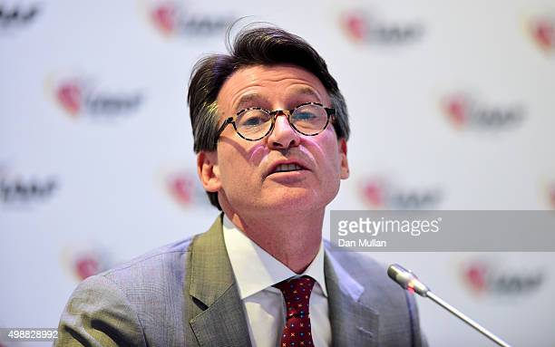 Lord Sebastian Coe President of the IAAF answers questions from the media during a press conference following the IAAF Council Meeting at the...