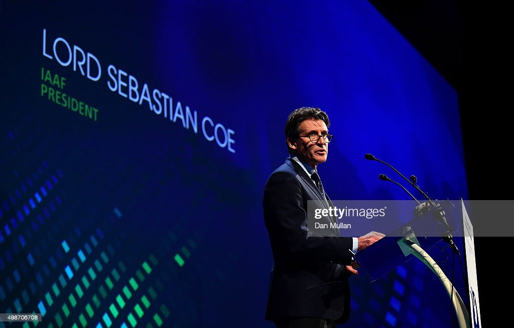 Lord Sebastian Coe, President of the IAAF delivers a speech during the Opening Ceremony of the Peace & Sport International Forum on November 25, 2015 in Monaco, Monaco.