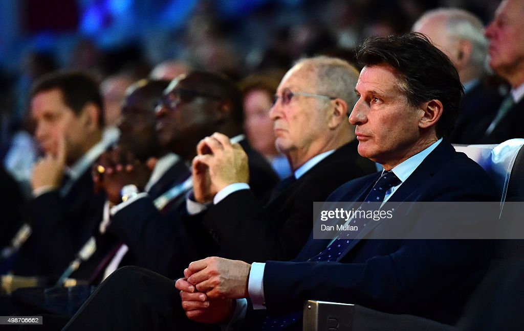 Lord Sebastian Coe, President of the IAAF listens to speeches during the Opening Ceremony of the Peace & Sport International Forum on November 25, 2015 in Monaco, Monaco.
