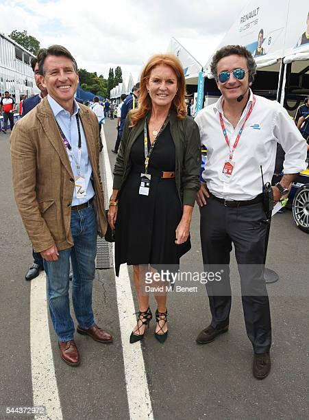 Lord Sebastian Coe Sarah Ferguson Duchess of York and Alejandro Agag attend day 2 of the 2016 FIA Formula E Visa London ePrix in Battersea Park on...