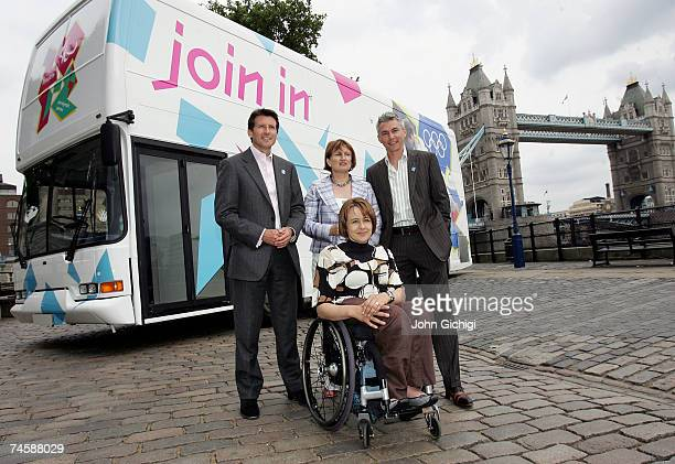 Lord Sebastian Coe Tessa Jowell Jonathan Edwards and Dame Tanni Grey Thompson pose in front of the 2012 bus the London 2012 Olympics 'Roadshow'...