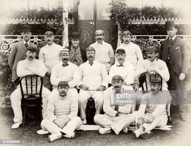 Lord Sheffield's XI cricket team team to their match against South Africa at Sheffield Park near Uckfield in Sussex on 22nd May 1894 The English side...