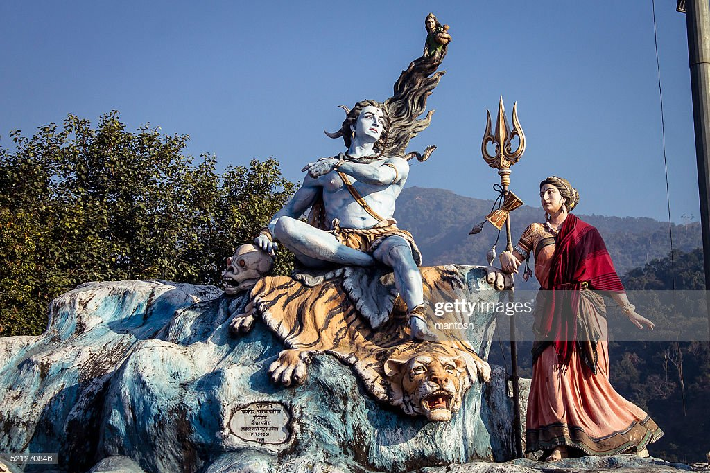 Lord Shiva and goddess Parvati statue's in Rishikesh. : Stock Photo