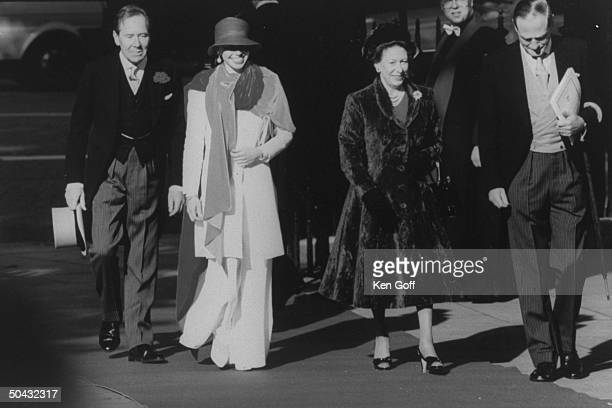 Lord Snowdon, daughter Sarah and ex-wife, Princess Margaret of England, w. An unident. Man on the way to the wedding of their son Viscount Linley to...