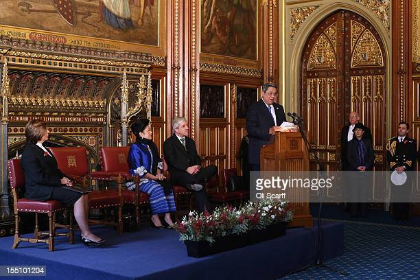Lord Speaker Baroness Frances D'Souza Speaker of the House of Commons John Bercow and Ani Bambang Yudhoyono listen to her husband Susilo Bambang...