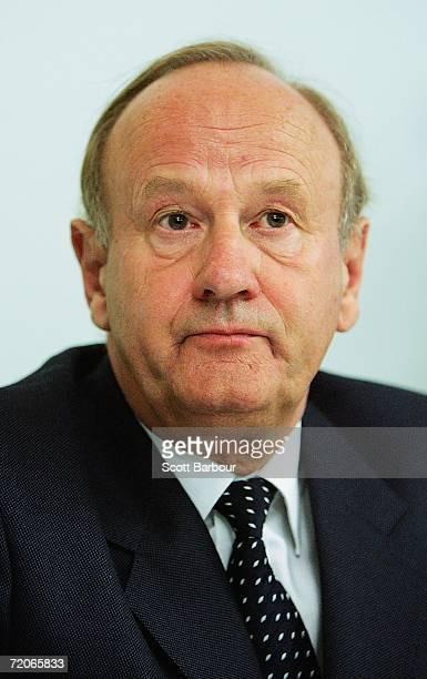 Lord Stevens, the former commissioner of the Metropolitan Police, announces the findings of his six-month investigation into football corruption, at...