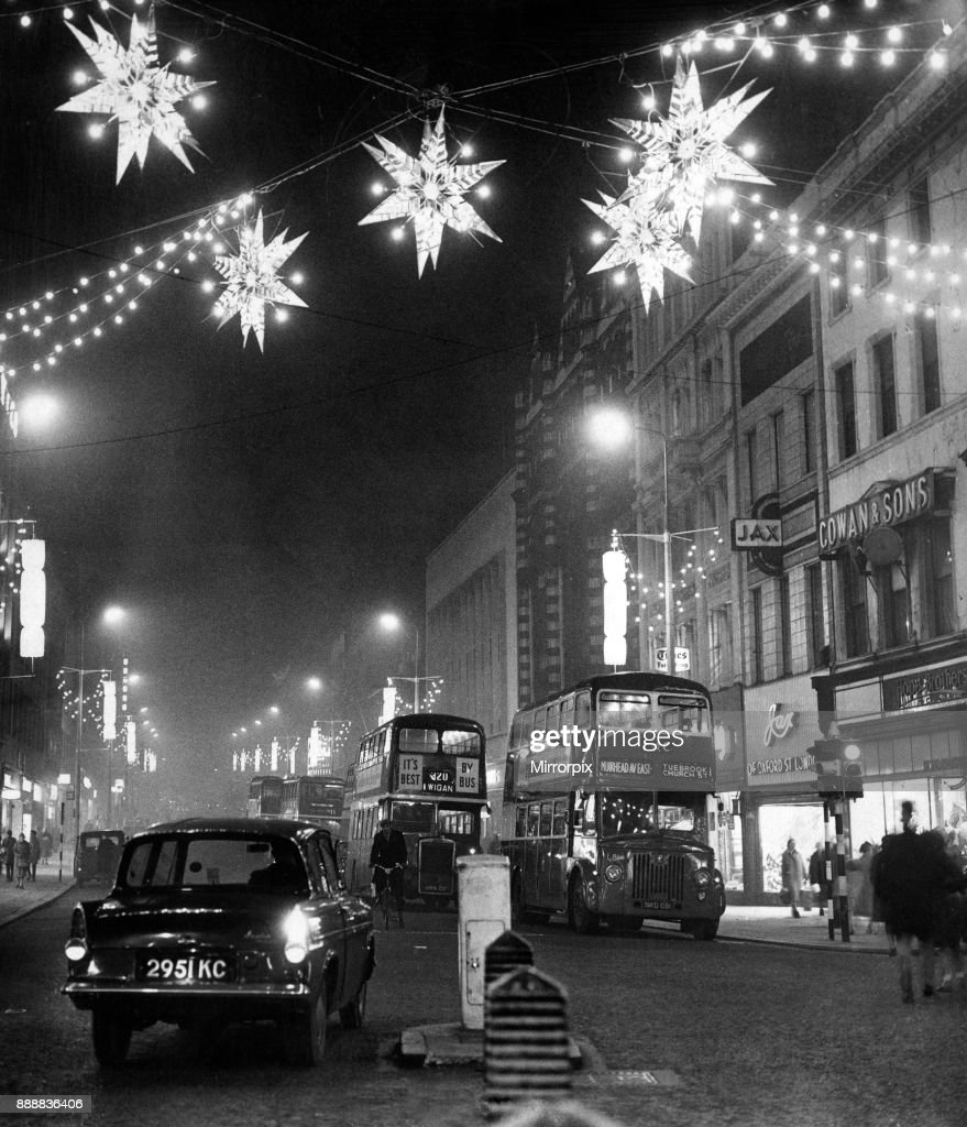 Lord Street, christmas lights stretch away uphill from the junction ...