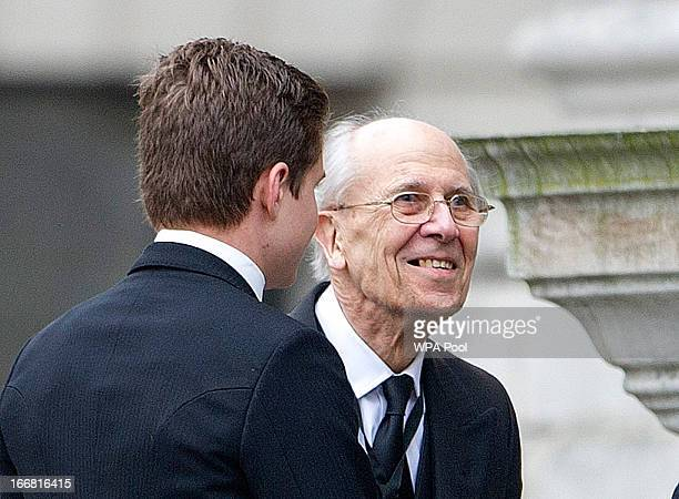 Lord Tebbit attends the Ceremonial funeral of former British Prime Minister Baroness Thatcher St Paul's Cathedral on April 17 2013 in London England...