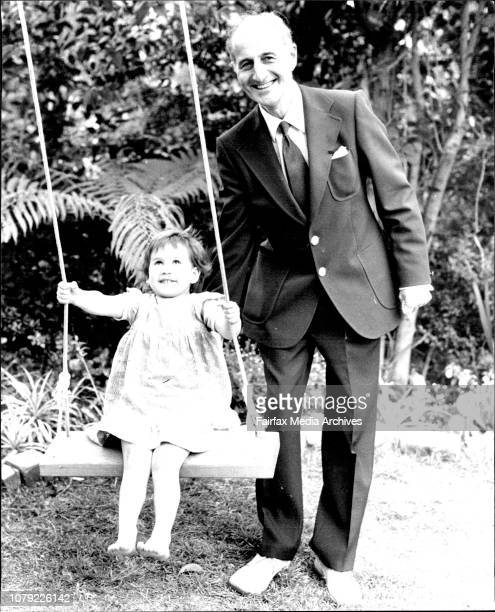 Lord Terence O'Neill former Prime Minister of Northern Ireland Pictured in Sydney today He is pictured with his granddaughter Sophia aged 3 October 4...