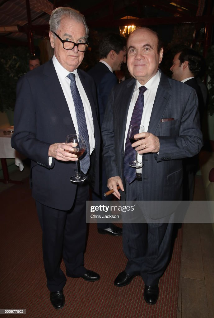 Lord Timothy Bell and Victor Dadale attend the Glass Half Full party at Mark's Club on March 23, 2017 in London, United Kingdom.