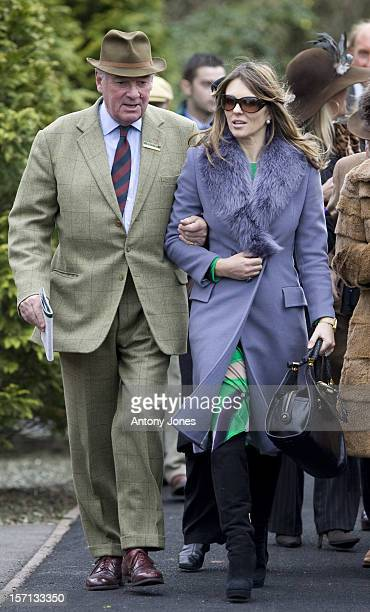 Lord Vestey And Liz Hurley At The First Day At The Cheltenham Festival.