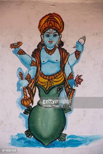 lord vishnu kurma painting, paduka ashram, orissa, asia, india - vishnu stock photos and pictures