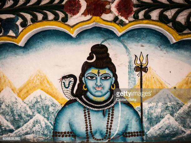 lord vishnu painting in the street in jodhpur india - vishnu stock photos and pictures