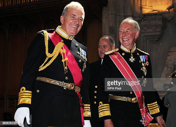 Lord West the former First Sea Lord with Admiral Sir Peter Abbott attend a Guildhall reception following a Service of Thanksgiving at St Paul's...
