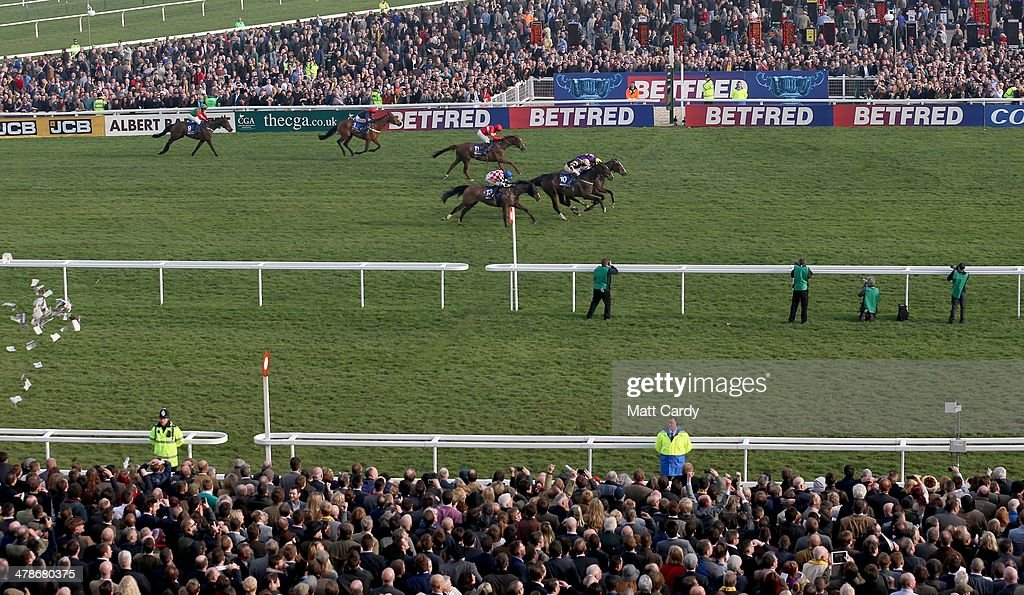 Lord Windermere, ridden by Davy Russell, wins the Cheltenham Gold Cup on the final day of the Cheltenham Festival on March 14, 2014 in Cheltenham, England. Thousands of racing enthusiasts have been at the four-day festival, which ends today with the festival's Gold Cup and is seen as many as the highlight of the jump racing calendar.