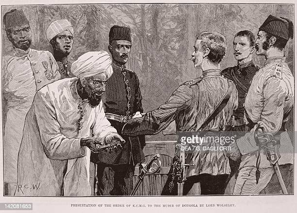 Lord Wolseley's expedition on the Nile Presentation of the Order of KCMG to the Dunqulah governor engraving from Illustrated London News December 1884