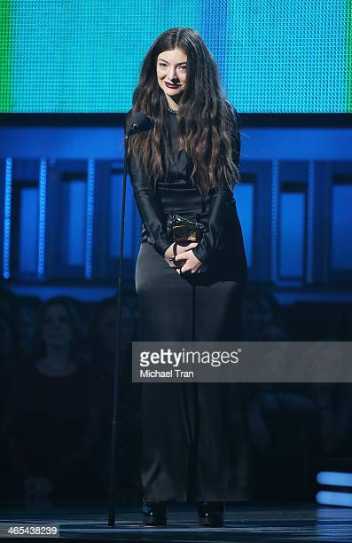 Lorde accepts an award onstage during the 56th GRAMMY Awards held at Staples Center on January 26 2014 in Los Angeles California