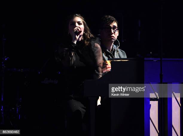 Lorde and Jack Antonoff perform onstage during the 2017 iHeartRadio Music Festival at T-Mobile Arena on September 23, 2017 in Las Vegas, Nevada.