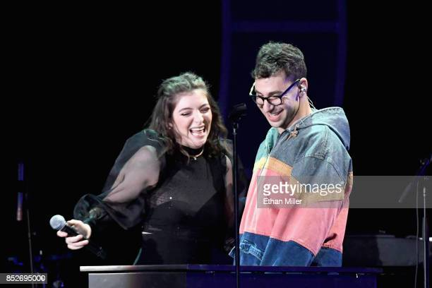 Lorde and Jack Antonoff perform onstage during the 2017 iHeartRadio Music Festival at TMobile Arena on September 23 2017 in Las Vegas Nevada