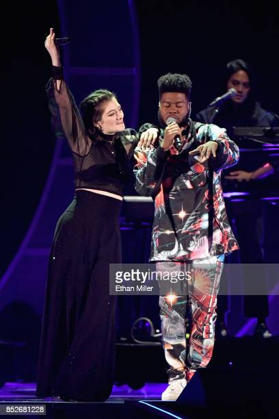 Lorde and Khalid onstage during the 2017 iHeartRadio Music Festival at TMobile Arena on September 23 2017 in Las Vegas Nevada