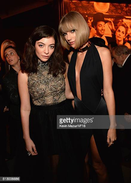 Lorde and Taylor Swift attend the 2016 Vanity Fair Oscar Party Hosted By Graydon Carter at the Wallis Annenberg Center for the Performing Arts on...