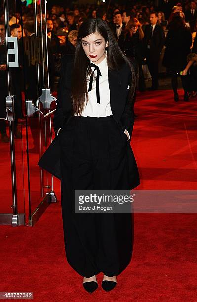 Lorde attends the World Premiere of The Hunger Games Mockingjay Part 1 at Odeon Leicester Square on November 10 2014 in London England