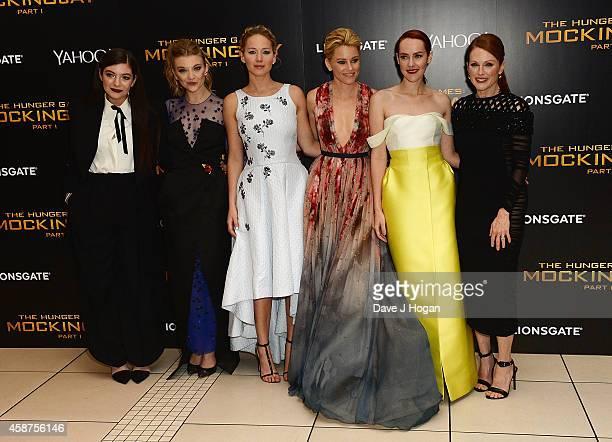 "Lorde, Natalie Dormer, Jennifer Lawrence, Elizabeth Banks, Jena Malone and Julianne Moore attend the World Premiere of ""The Hunger Games: Mockingjay..."