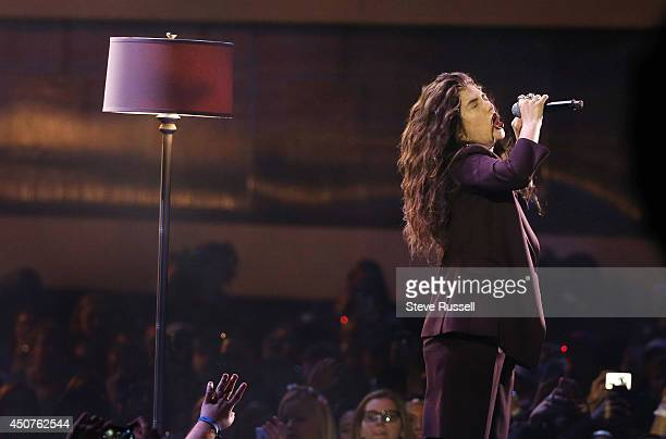TORONTO ON JUNE 15 Lorde performs a medley of her songs 'Tennis Court' and 'Team' at the Much Music Video Awards at MuchMusic on Queen Street West in...