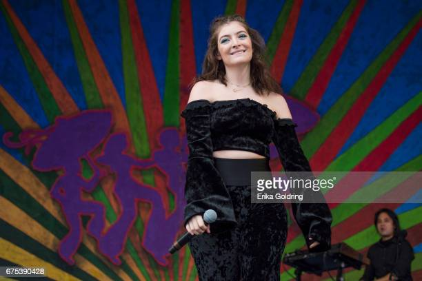 Lorde performs during the 2017 New Orleans Jazz Heritage Festival at Fair Grounds Race Course on April 30 2017 in New Orleans Louisiana