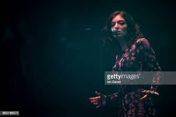 Lorde performs on day 2 of the Glastonbury Festival 2017 at Worthy Farm Pilton on June 23 2017 in Glastonbury England