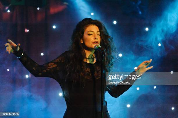 Lorde performs on stage at Madame Jojo's on September 18 2013 in London England