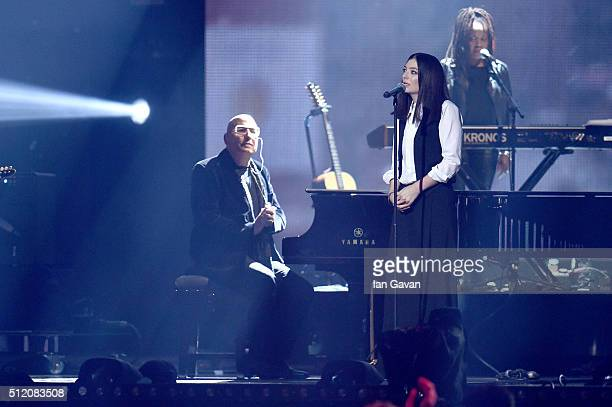 Lorde performs on stage during a tribute to David Bowie at the BRIT Awards 2016 at The O2 Arena on February 24 2016 in London England