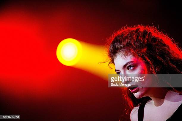 Lorde performs on stage during the 2014 Lollapalooza Brazil at Autodromo de Interlagos on April 5, 2014 in Sao Paulo, Brazil.