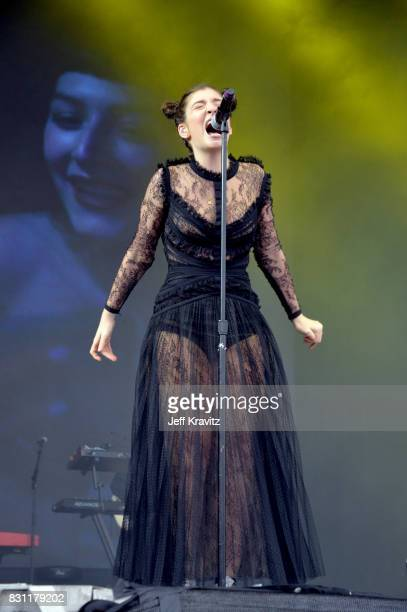 Lorde performs on the Lands End stage during the 2017 Outside Lands Music And Arts Festival at Golden Gate Park on August 13 2017 in San Francisco...