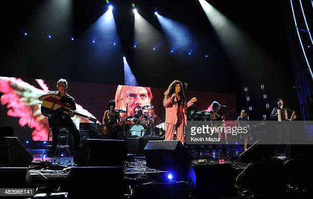 Lorde performs with Pat Smear, Dave Grohl and Krist Novoselic of Nirvana onstage at the 29th Annual Rock And Roll Hall Of Fame Induction Ceremony at...