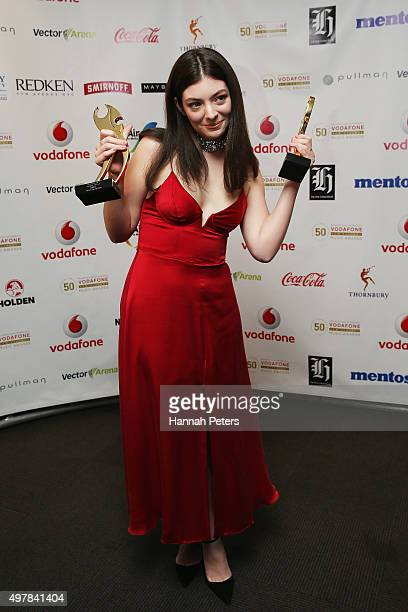 Lorde poses for a photo after winning Single of the Year and the People's Choice Award at the Vodafone New Zealand Music Awards at Vector Arena on...