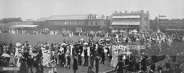 Lord's Cricket Ground the luncheon interval London c1899 Scene during the Oxford versus Cambridge University match A print from The Book of Cricket a...