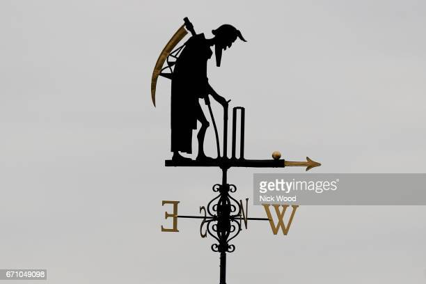 Lords weather vane Old Father Time prior to the start of play at Lords Cricket Ground on April 21 2017 in London England
