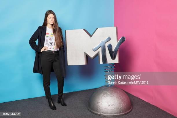Lore Nekane Billelabeitia poses at the MTV EMAs 2018 studio at Bilbao Exhibition Centre on November 4 2018 in Bilbao Spain