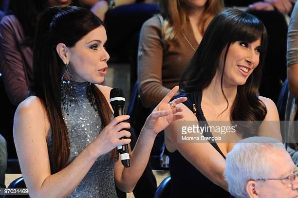 Loredana and Raffaella Lecciso attends the ''L'isola dei famosi'' television show on February 24 2010 in Milan Italy